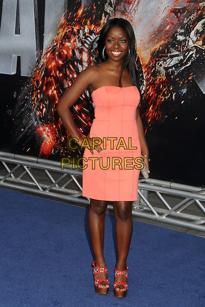 "Camille Winbush.""Battleship"" Los Angeles Premiere held at the Nokia Theatre LA Live, Los Angeles, California, USA..May 10th, 2012.full length pink dress strapless hand on hip .CAP/ADM/BP.©Byron Purvis/AdMedia/Capital Pictures."