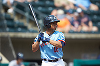 Francisco Mejia (12) of the Columbus Clippers at bat against the Indianapolis Indians at Huntington Park on June 17, 2018 in Columbus, Ohio. The Indians defeated the Clippers 6-3.  (Brian Westerholt/Four Seam Images)
