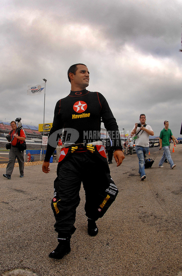 Oct 6, 2006; Talladega, AL, USA; ARCA RE/MAX Series driver Juan Pablo Montoya (4)during practice for the Food World 250 at Talladega Superspeedway. Montoya is making his first stock car start after competing in Formula 1. Mandatory Credit: Mark J. Rebilas