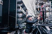 mechanic Glen Leven of Team trek-Segafredo at work<br /> <br /> 109th Milano-Sanremo 2018<br /> Milano > Sanremo (291km)