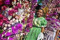 """Salvadoran girls carry palm branches with colorful flower blooms during the procession of the Flower & Palm Festival in Panchimalco, El Salvador, 8 May 2011. On the first Sunday of May, the small town of Panchimalco, lying close to San Salvador, celebrates its two patron saints with a spectacular festivity, known as """"Fiesta de las Flores y Palmas"""". The origin of this event comes from pre-Columbian Maya culture and used to commemorate the start of the rainy season. Women strip the palm branches and skewer flower blooms on them to create large colorful decoration. In the afternoon procession, lead by a male dance group performing a religious dance-drama inspired by the Spanish Reconquest, large altars adorned with flowers are slowly carried by women, dressed in typical costumes, through the steep streets of the town."""