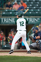 Blake Hunt (12) of the Fort Wayne TinCaps at bat against the Bowling Green Hot Rods at Parkview Field on August 20, 2019 in Fort Wayne, Indiana. The Hot Rods defeated the TinCaps 6-5. (Brian Westerholt/Four Seam Images)