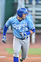 Burlington Royals catcher Chase Livingston (29) runs to first base during game against the Elizabethton Twins at Joe O'Brien Field on August 24, 2016 in Elizabethton, Tennessee. The Royals defeated the Twins 8-3. (Tony Farlow/Four Seam Images)