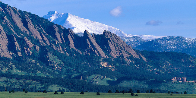 Longs Peak and Mt Meeker above Boulder Flatirons, Rocky Mountains, Colorado USA