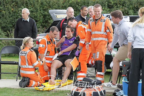 Lions JOHN HALE being attended by both the pitchside mediacl team as well as the Warwickshire & Northamptonshire Air Ambulance ..... SEPT 2011 ..... Leicester LIONS (15) v (28) NUNEATON ..... Lutterworth Road, Blaby, Leicester.