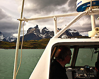 Los Cuernos (The Horns), seen from a boat on Lago Pehoe in Torres del Paine, Chile.