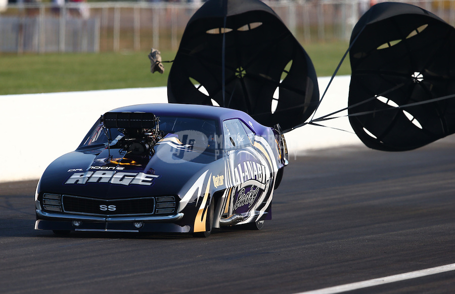 Sept. 1, 2013; Clermont, IN, USA: NHRA pro mod driver Von Smith during qualifying for the US Nationals at Lucas Oil Raceway. Mandatory Credit: Mark J. Rebilas-