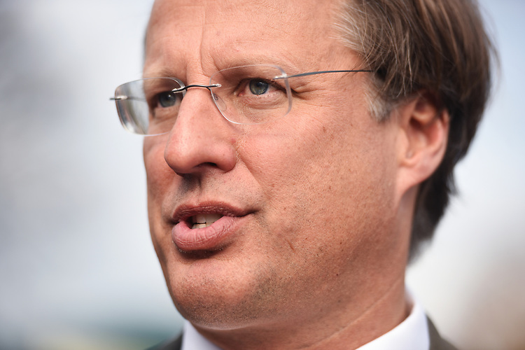 UNITED STATES - MARCH 7: Rep. Dave Brat, R-Va., speaks with reporters after a news conference with members of the House Freedom Caucus at the House Triangle, where they criticized the House Republican's new healthcare plan, American Health Care Act, March 7, 2017. (Photo By Tom Williams/CQ Roll Call)