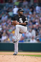 Chicago White Sox relief pitcher Jairo Asencio (63) in action against the Charlotte Knights at BB&T Ballpark on April 3, 2015 in Charlotte, North Carolina.  The Knights defeated the White Sox 10-2.  (Brian Westerholt/Four Seam Images)
