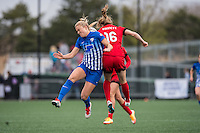 Allston, MA - Sunday, May 1, 2016:  Boston Breakers midfielder Kristie Mewis (19) and Portland Thorns FC defender Emily Sonnett (16) in a match at Harvard University.