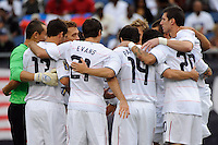 United States (USA) players huddle before the start of the game. The United States and Haiti played to a 2-2 tie during a CONCACAF Gold Cup Group B group stage match at Gillette Stadium in Foxborough, MA, on July 11, 2009. .