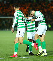 4th March 2020; Almondvale Stadium, Livingston, West Lothian, Scotland; Scottish Premiership Football, Livingston versus Celtic; Tom Rogic of Celtic celebrates with Jeremie Frimpong of Celtic after he makes it 2-2 in the 91st minute