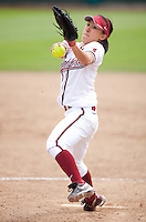 STANFORD, CA - April 2, 2011: Ashley Chinn of Stanford softball pitches during Stanford's game against Arizona at Smith Family Stadium. Stanford lost 6-1.