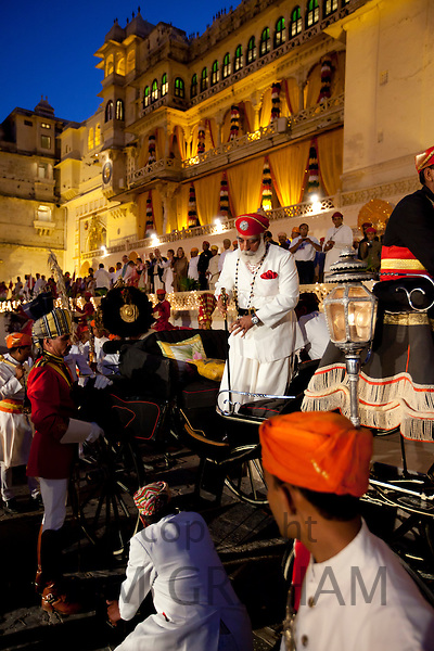 Shriji Arvind Singh Mewar of Udaipur, Custodian of the House of Mewar, at Hindu Holi Fire Festival, City Palace, Rajasthan India