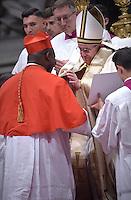 Cardinal, Archbishop of Bangui, Dieudonne Nzapalainga, Pope Francis, during a consistory at Peter's basilica. Pope Francis has named 17 new cardinals, on November 19, 2016