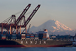 Hanjin; Container Ship; Korean company; Asia trade; Container Cranes; Elliott Bay; Pacific Rim Trade; Seattle harbor; Mount Rainier,