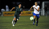 Sara  Walsh (21) of the Saint Louis Athletica gets ahead off Nancy Augustyniak Goffi (25) of the Boston Breakers. The Saint Louis Athletica defeated the Boston Breakers 1-0 at Anheuser-Busch Soccer Park in Fenton, MO on August 1, 2009.