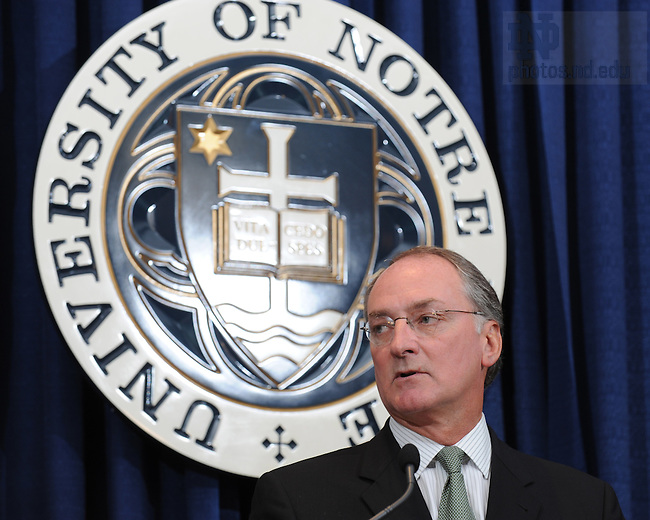 Jul. 16, 2008; South Bend, IN, USA; Rev. John I. Jenkins C.S.C., president of the University of Notre Dame, announces Jack Swarbrick as athletic director for the University of Notre Dame in South Bend, Indiana. Mandatory Credit: Matt Cashore-US PRESSWIRE