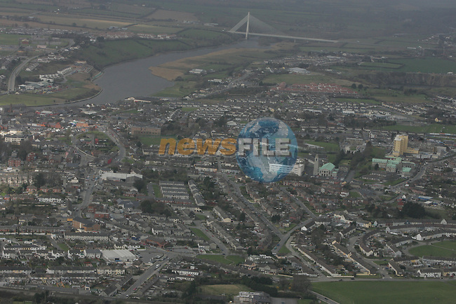 Aerial View of Drogheda looking west to the bypass cable bridge. 12/04/05...Photo NEWSFILE/Fran Caffrey.(Photo credit should read Fran Caffrey/NEWSFILE)....This Picture has been sent you under the condtions enclosed by:.Newsfile Ltd..The Studio,.Millmount Abbey,.Drogheda,.Co Meath..Ireland..Tel: +353(0)41-9871240.Fax: +353(0)41-9871260.GSM: +353(0)86-2500958.email: pictures@newsfile.ie.www.newsfile.ie.FTP: 193.120.102.198...This picture is from Fran Caffrey@newsfile.ie