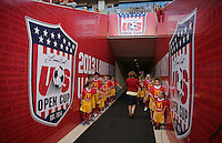 Kids get ready to walk onto the filed before a game against Real Salt Lake and D.C. United at the U.S. Open Cup Final on October  1, 2013 at Rio Tinto Stadium in Sandy, Utah.
