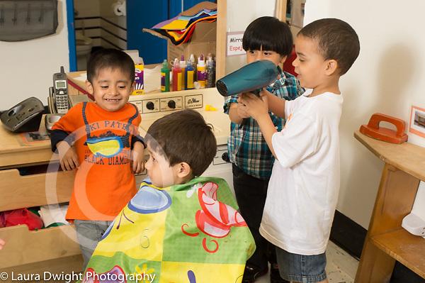 Education preschool 3 year olds pretend play hair salon boys drying hair