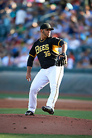 Salt Lake Bees starting pitcher Luis Diaz (36) delivers a pitch to the plate against the Albuquerque Isotopes in Pacific Coast League action at Smith's Ballpark on June 10, 2017 in Salt Lake City, Utah. The Isotopes defeated the Bees 4-2. (Stephen Smith/Four Seam Images)