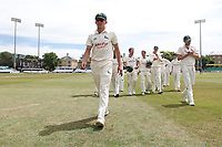 Bowler Matt Milnes leads off the victorious Notts team during Essex CCC vs Nottinghamshire CCC, Specsavers County Championship Division 1 Cricket at The Cloudfm County Ground on 23rd June 2018