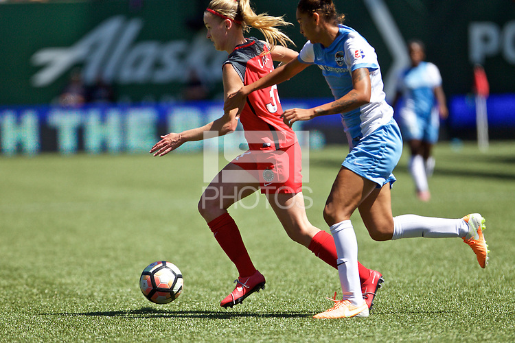 Portland, OR - Saturday August 05, 2017: Tyler Lussi, Poliana Barbosa Medeiros during a regular season National Women's Soccer League (NWSL) match between the Portland Thorns FC and the Houston Dash at Providence Park.