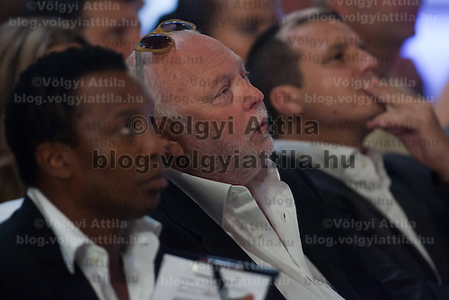 Hollywood movie producer, celebrity and jury member Andy or Andrew J Vajna (C) during the Beauty Queen live TV show hosting the three beauty contests Miss World Hungary, Miss Universe Hungary and Miss Earth Hungary, held in Hungary's tv2 television headquarter in Budapest, Hungary on July 14, 2011. ATTILA VOLGYI