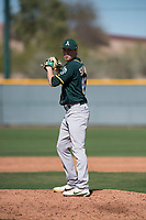 Oakland Athletics relief pitcher Sam Sheehan (68) during a Minor League Spring Training game against the Chicago Cubs at Sloan Park on March 19, 2018 in Mesa, Arizona. (Zachary Lucy/Four Seam Images)