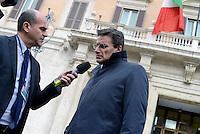 Roma 4 Dicembre 2014<br /> Roberto Morassut  deputato del Partito Democratico intervistato dai giornalisti  in piazza Montecitorio.