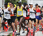 March 3, 2019, Tokyo, Japan - Ethiopia's Birhanu Legese (L) leads a pack of racers including Japan's Suguru Osako (2nd R) during the Tokyo Marathon 2019 in Tokyo on Sunday, March 3, 2019. Legese won the race with a time of 2 hours 4 minutes 48 seconds.  (Photo by Yoshio Tsunoda/AFLO)