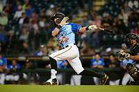 Bradenton Marauders Robbie Glendinning (6) bats during a Florida State League game against the Jupiter Hammerheads on April 20, 2019 at LECOM Park in Bradenton, Florida.  Bradenton defeated Jupiter 3-2.  (Mike Janes/Four Seam Images)