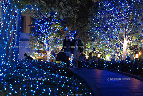 TOKYO - NOVEMBER 5: Trees are illuminated at Shinjuku Terrace City in Tokyo. The area will be illuminated by about 470,000 blue-white light-emitting diodes (LEDs) through Dec 25. (Photo by Taro Fujimoto/Japan Today/Nippon News)