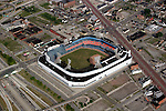 "Famed former home of the Detroit Tigers major league baseball team, Tiger Stadium. Photograph taken from on board the Akron, Ohio based ""Spirit of Goodyear"" airship on Monday, July 11, 2005 as it headed out to the start of the 2005 Major League Baseball All-Stars Homerun Derby at Comerica Park in downtown Detroit, Mich. (Photo by Tony Ding)"