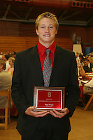 "STANFORD, CA - June 12:  Sage Wright accepts his Block ""S"" Outstanding Male Sophomore award during the 2008 Athletic Board Award Luncheon at the Ford Center in Stanford, California."