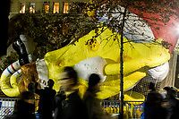 NEW YORK, NY – NOVEMBER 21: Many people crossed the SpongeBob balloon while visiting the balloons of the annual Macy's Thanksgiving Day Parade the night before the parade on November 21, 2018 in New York City. (Photo by Pablo Monsalve /VIEWPress)