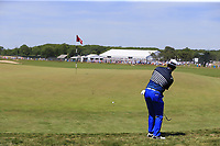 Hideki Matsuyama (JPN) chips onto the 8th green during Saturday's Round 3 of the 118th U.S. Open Championship 2018, held at Shinnecock Hills Club, Southampton, New Jersey, USA. 16th June 2018.<br /> Picture: Eoin Clarke | Golffile<br /> <br /> <br /> All photos usage must carry mandatory copyright credit (&copy; Golffile | Eoin Clarke)