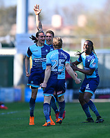 Wycombe Wanderers players celebrate scored by Randell Williams of Wycombe Wanderers left the goal  during Yeovil Town vs Wycombe Wanderers, Sky Bet EFL League 2 Football at Huish Park on 14th April 2018
