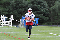 August 1, 2018: New England Patriots wide receiver Chris Hogan (15) runs after a catch at the New England Patriots training camp held on the practice fields at Gillette Stadium, in Foxborough, Massachusetts. Eric Canha/CSM