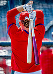 29 February 2020: St. Louis Cardinals outfielder Harrison Bader awaits his turn in the batting cage prior to a game against the Washington Nationals at Roger Dean Stadium in Jupiter, Florida. The Cardinals defeated the Nationals 6-3 in Grapefruit League play. Mandatory Credit: Ed Wolfstein Photo *** RAW (NEF) Image File Available ***