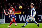 Santiago Arias of Atletico de Madrid (L) fights for the ball with David Zurutuza Veillet of Real Sociedad (R) during the La Liga 2018-19 match between Atletico de Madrid and Real Sociedad at Wanda Metropolitano on October 27 2018 in Madrid, Spain.  Photo by Diego Souto / Power Sport Images