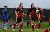 20170914 - TUBIZE ,  BELGIUM : Belgian team with Tine De Caigny (6) pictured celebrating their goal during the friendly female soccer game between the Belgian Red Flames and European Champion The Netherlands , a friendly game in the preparation for the World Championship qualification round for France 2019, Thurssday 14 th September 2017 at Euro 2000 Center in Tubize , Belgium. PHOTO SPORTPIX.BE | DAVID CATRY