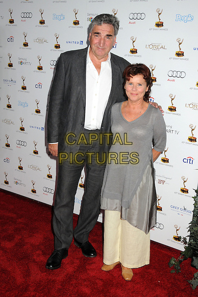 Jim Carter, Imelda Staunton<br /> 65th Annual Emmy Awards Performers Nominee Reception held at the Pacific Design Center, West Hollywood, California, USA, <br /> 20th September 2013.<br /> full length suit white shirt grey gray top tunic dress husband wife couple married <br /> CAP/ADM/BP<br /> &copy;Byron Purvis/AdMedia/Capital Pictures