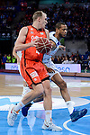 Real Madrid's Anthony Randolph and Valencia Basket's Luke Sikma during 2017 King's Cup match between Real Madrid and Valencia Basket at Fernando Buesa Arena in Vitoria, Spain. February 19, 2017. (ALTERPHOTOS/BorjaB.Hojas)
