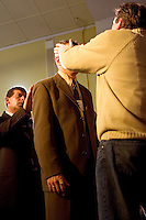 South America, Argentina, Almirante Brown, Adrogue, Evangelism - Local spiritual leaders of Cristo para Todos (Christ for All) Church bless visiting international missionaries. Some participants receive such power they are &quot;slain in the Holy Spirit,&quot; July 2006, &copy;Stephen Blake Farrington<br />