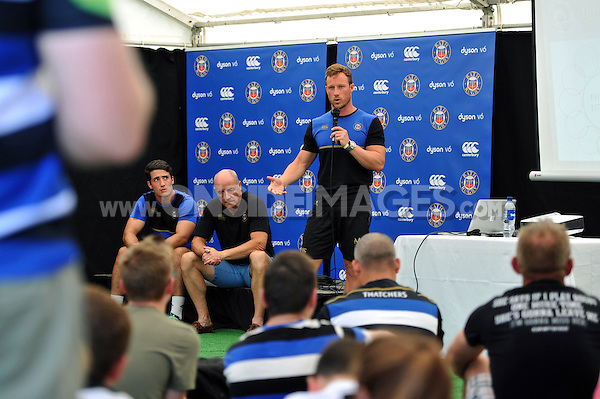 Mark Atkinson runs a Q&A on Strength and Conditioning. Bath Rugby Family Festival of Rugby, on August 8, 2015 at the Recreation Ground in Bath, England. Photo by: Patrick Khachfe / Onside Images