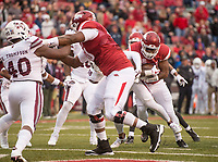 Hawgs Illustrated/BEN GOFF <br /> David Williams, Arkansas running back, runs in a touchdown in the first quarter against Mississippi State Saturday, Nov. 18, 2017, at Reynolds Razorback Stadium in Fayetteville.