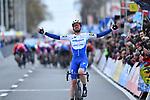 Kasper Asgreen (DEN) Deceuninck-Quick Step wins Kuurne-Brussel-Kuurne 2020, Belgium. 1st March 2020.<br /> Picture: Serge Waldbillig/cyclingpix.lu   Cyclefile<br /> <br /> All photos usage must carry mandatory copyright credit (© Cyclefile   cyclingpix.lu/Serge Waldbillig)