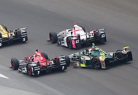 May 28, 2017; Indianapolis, IN, USA; IndyCar Series driver Ed Carpenter (20) collides with Mikhail Aleshin (5) alongside  Pippa Mann (63) during the 101st Running of the Indianapolis 500 at Indianapolis Motor Speedway. Mandatory Credit: Mark J. Rebilas-USA TODAY Sports
